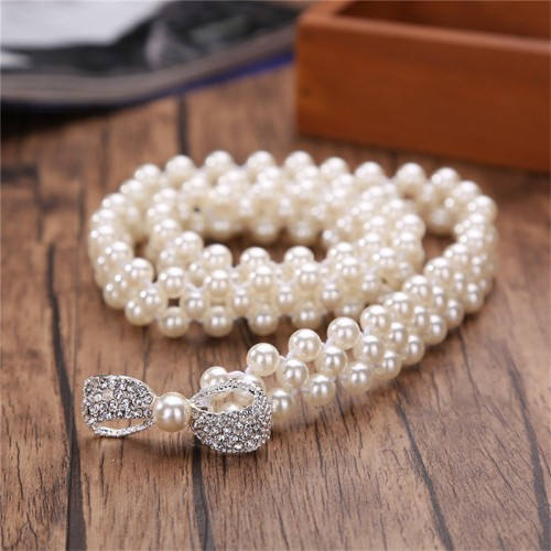 New Fashion Waist Elastic Buckle Pearl Belts For Women Strap Female belt Accessories Dress Cintos Mujer