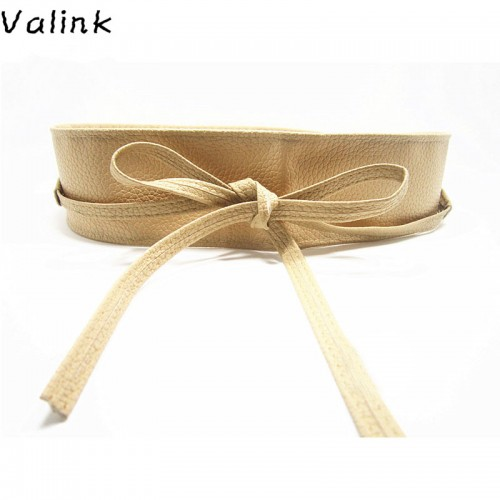 Valink New Fashion Women Belt Soft PU Leather Wide Self Tie Wrap Around Waist Band