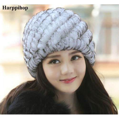 Luxury Autumn Winter Women s Genuine Real Knitted Rex Rabbit Fur Hats Handmade Lady Warm
