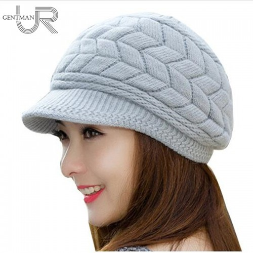 New Women Winter Hat Warm Beanies Fleece Inside Knitted Hats For Woman Rabbit Fur Cap Autumn