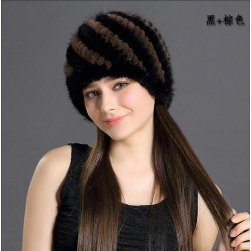 New women winter mink hats warm knitted high quality beanies