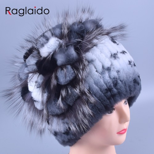 Raglaido Women s Winter Fur Hats Beanies Real Rex Rabbit Fox fur decoration floral hats adults