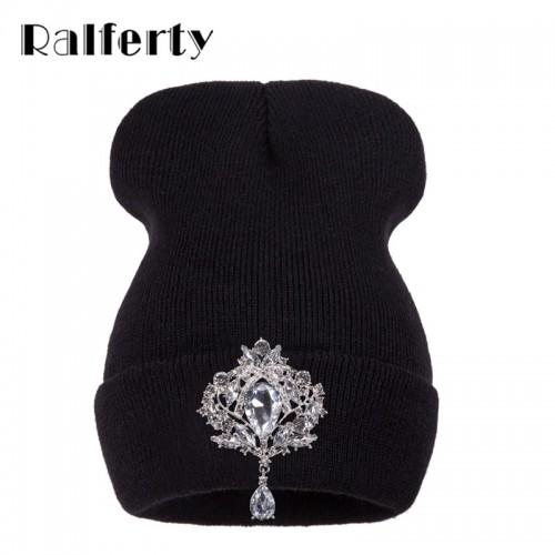 Ralferty Winter Women s Hats Luxury Crystal Accessory Headgear Beanie Hat For Women Caps Female Beanies