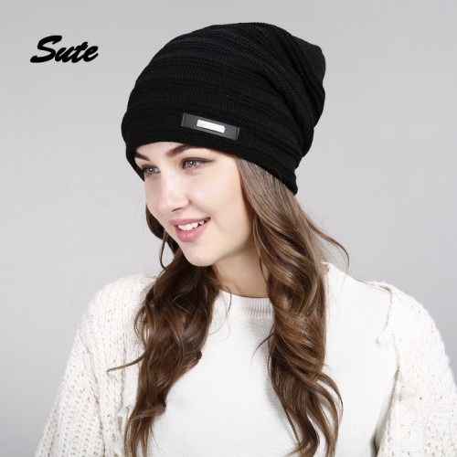 SUTE Winter Beanie Hat Ladies Knit Hats men for Women Caps Knitted Cap gorros With Ear