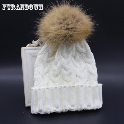 Winter Autumn Fashion Women Wool Knitted Beanies Caps 100 Real Raccoon Fur Pompom Beanie Hats