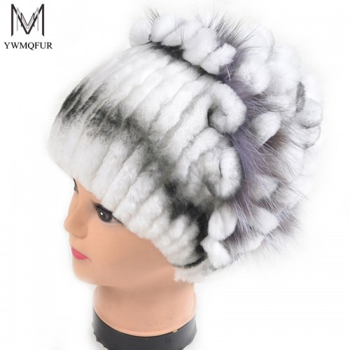 Winter fur hat for women real rex rabbit fur hat with silver fox fur flower knitted