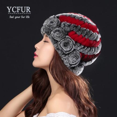 YCFUR Fashion Women s Hats Caps Winter Handmade Knitted Real Rex Rabbit Fur Beanies Hats Female