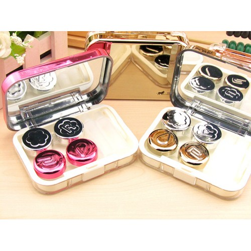 High quality double container contact lens case with mirror color contact lenses case cute Lovely Travel