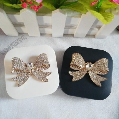 LIUSVENTINA DIY Alloy beautiful alloy Bow Butterfly diamond contact lens case for eyes contact lenses box