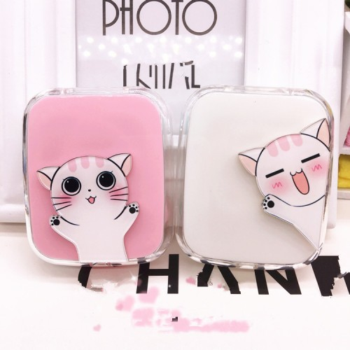 LIUSVENTINA DIY acrylic cute portable white cat contact lens case for glasses spectacle case for color