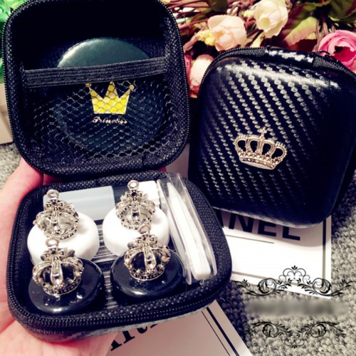 Lovely Handmade Crown Contact Lens Case Set With Mirror Travel Lenses Box Contact Lens Box 2Pairs
