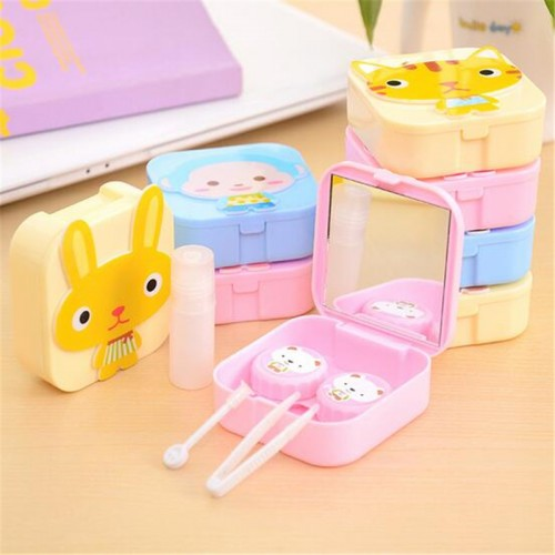 Newest Fashion Cartoon Paster Contact lens Case Suit Small Fresh Invisible US Pupil Glasses Box Eyewear