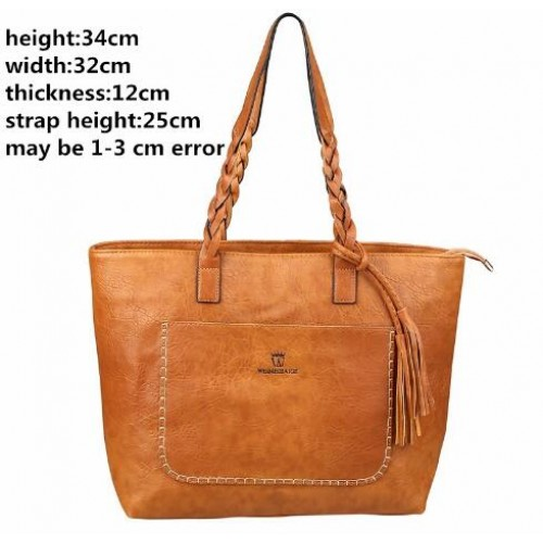 PU Leather Handbags for Women Luxury Designer sac a main Tassel Shopping Tote Vintage