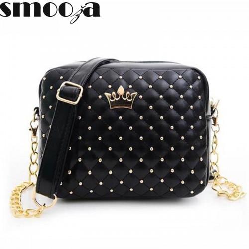 SMOOZA Women Bag Fashion Women Messenger Bags Rivet Chain Shoulder Bag High PU Leather