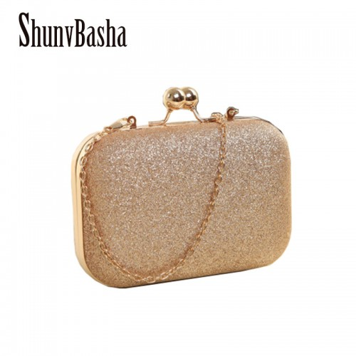ShunvBasha Woman Evening bag Gold Glittered Clutch bags Wallet Wedding Handbags Party