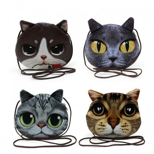 3D cute Girls Fashion Handbags Small Animal Cat Dog Printed Crossbody Bags for Kids