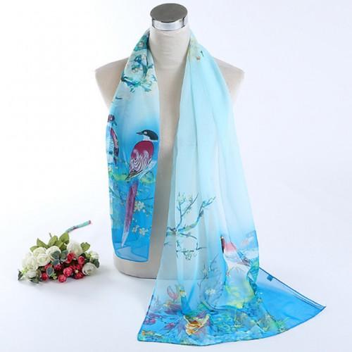 LNRRABC Fashion New Thin Women Long Soft Wrap Lady Shawl Silk Chiffon Scarf Magpie Printed Scarves