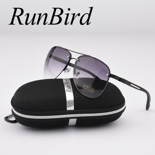 RunBird Fashion Sunglasses Women Popular Brand Design Semi Rimle Luxury Men Classic Aviation Sun Glasses With