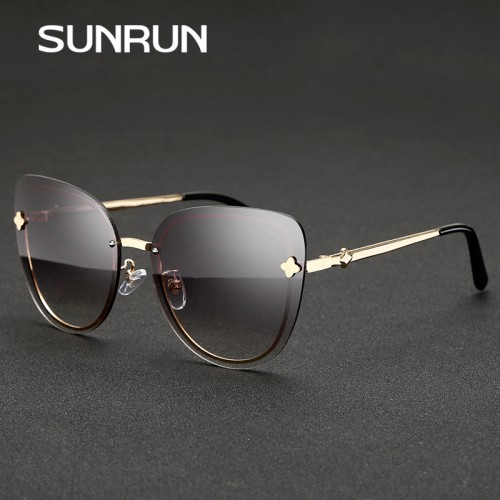 SUNRUN New Cat Eye Women Sunglasses Brand Gradient Rimless Sunglasses Women Vintage Glasses Woman Sunglasses oculos