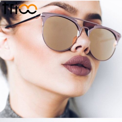 TRIOO Mirror Rose Gold Sunglasses Women Round Luxury Brand Female Sun Glasses For Women 2017 Fashion