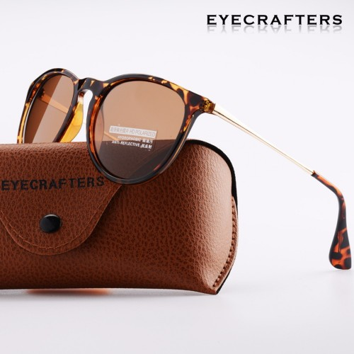 Tortoise Brown Brand Designer Polarized Sunglasses Womens Retro Vintage Cat Eye Sunglasses Female Fashion Mirrored Eyewear