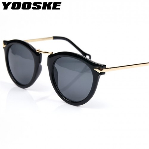 YOOSKE 4 Colors Retro Round Women Sunglasses Brand Mirrored Female Sun Glasses Women s Glasses Feminine