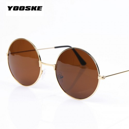 YOOSKE Vintage Round Sunglasses For Women Men Brand Designer Mirrored Glasses Retro Female Male Sun Glasses
