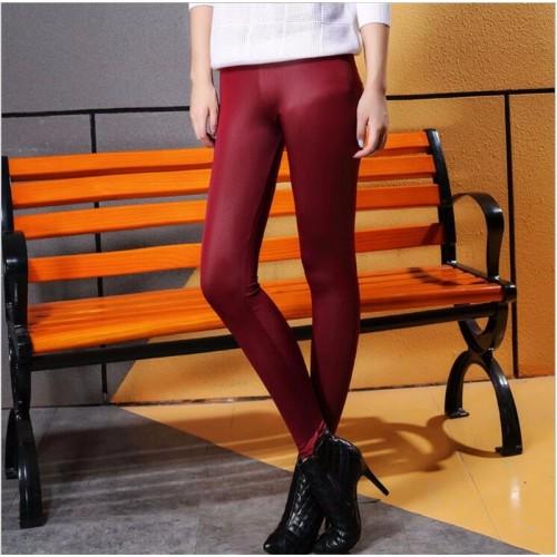 Faux Leather Waist Skinny Leggings Pencil Pant Maroon