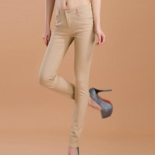 Beige Female Stretchable Cotton Jeans Pencil Pants Denim Trousers