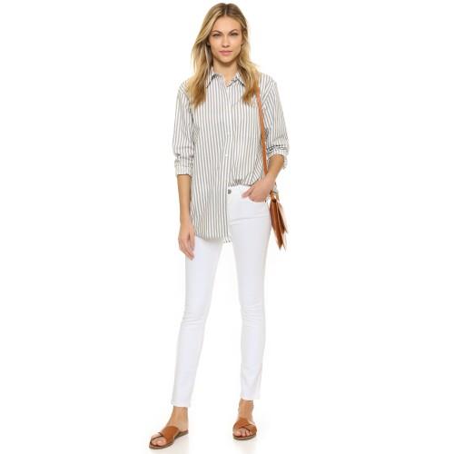 White Female Stretchable Cotton Jeans Pencil Pants Denim Trousers