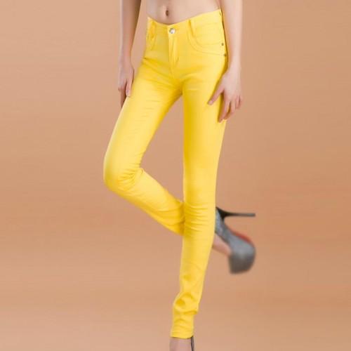 Yellow Female Stretchable Cotton Jeans Pencil Pants Denim Trousers