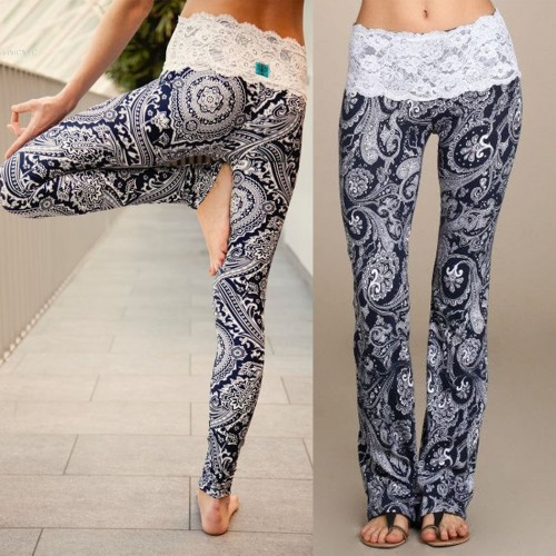 Summer Boho Hippie Women High Elastic Waist Lace Floral Printed Casual Trousers Long Pants