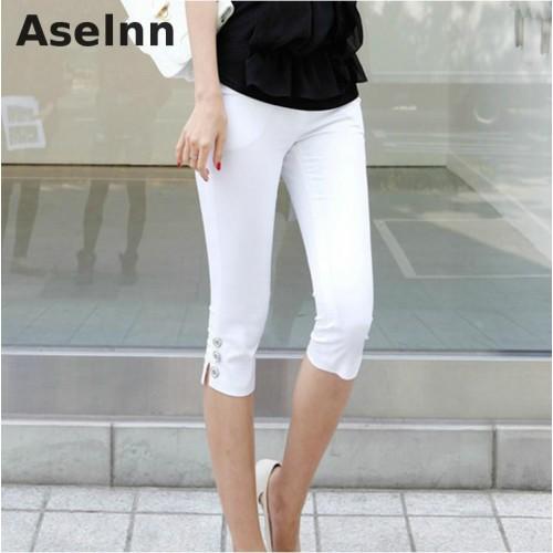 Summer New Fahison Capris Casual Calf length Pants Female Plus Size S 3xl White Black