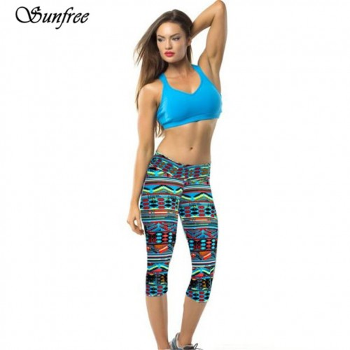 Sunfree New Hot Sale High Waist Fitness Comfortable Pants Printed Stretch Cropped Leggings Brand New