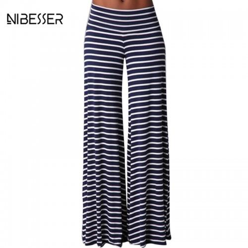 Vintage Loose Straight Long Trousers Women Casual Boho Wide Leg Pants Ladies Striped Draped Pants