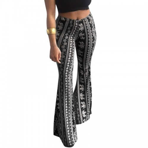 Women Floral Printed Bell Bottom Trousers Casual Wide Leg Pants Stretch High Waist Boho Flare Pants