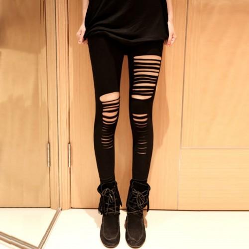 Women Irregular Cut Trousers Girls Skinny Hole LeggingsStretchy Slim Pants Hot Selling