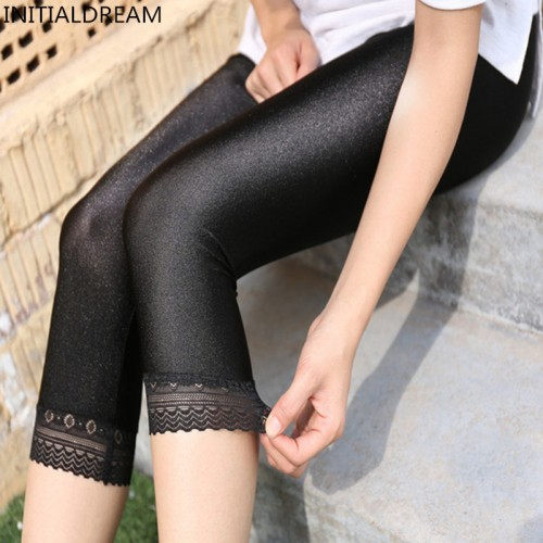 Women s Calf Length Pants Slim Solid Female Shiny pants Women Mujer Simple Casual Elasticity Trousers