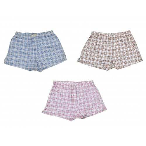 Set Of Three Summer 100% Cotton Shorts Casual Loose Check Shorts High Quality