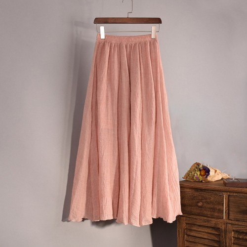 Fashion Brand Women Top quality Cotton and Linen Long Skirt Elastic Waist A line Pleated