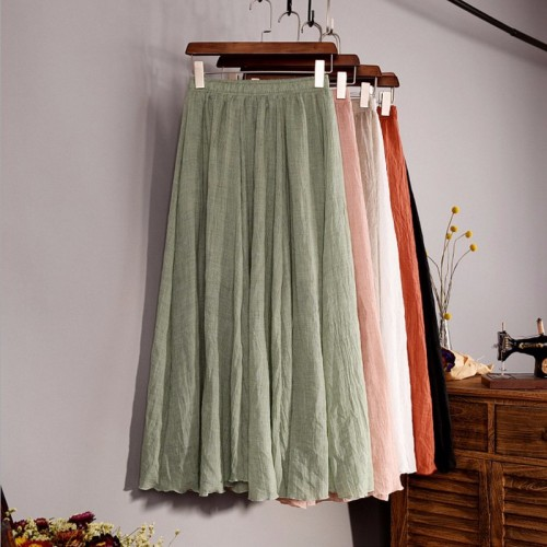 Fashion Brand Women Top quality Linen Cotton Long Skirt Elastic Waist A line Pleated Maxi