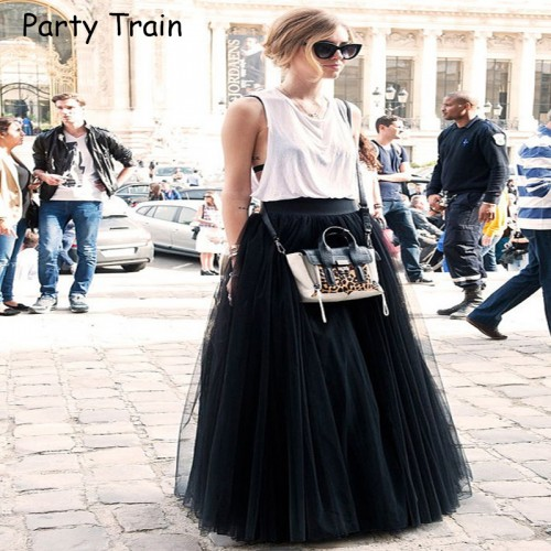 Fashion Skirt Tulle Skirts Long Womens Maxi Skirts Spring 4layers Mesh Pleated BridesmaidBall Gown Flared