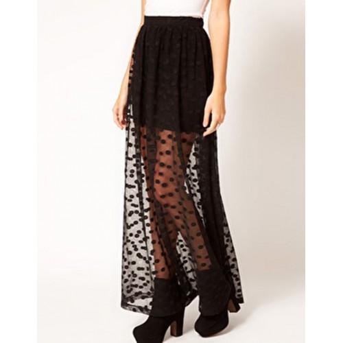 Fashion Women Polka Dot Layer Lace Mesh Long Maxi Skirt Slim Elastic Waist Skirt