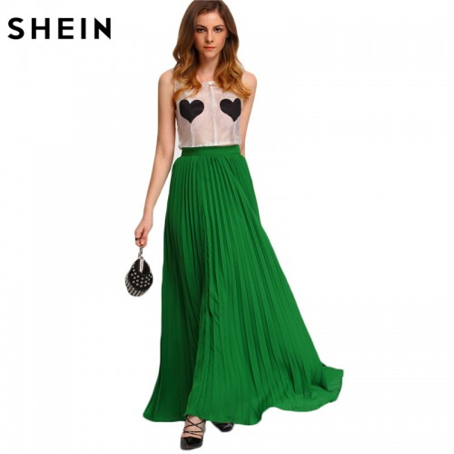 Green High Waist Party Wear Maxi Female Skirts New Style Womens Hot Sale