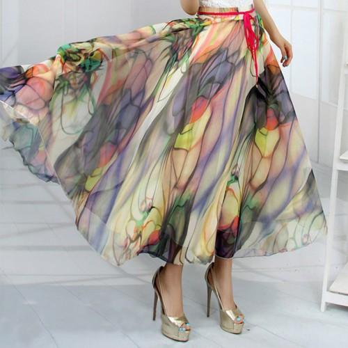 Hot New 19 Patterns Peacock Feather Fake Silk Elastic Waist Big Bottom Printed Bohemia Skirt Women