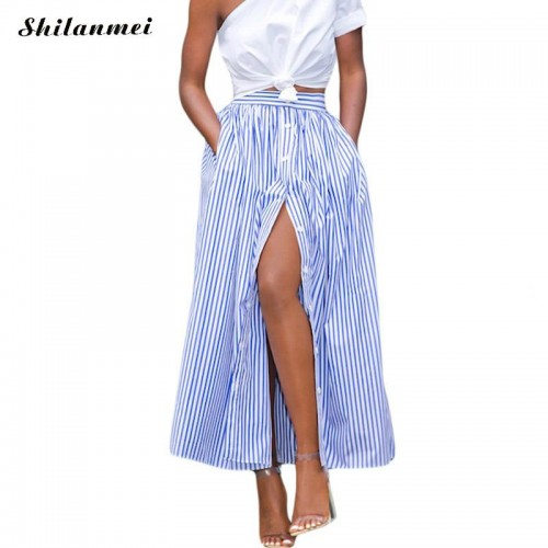 Korean Fashion Women Casual long african skirt Summer Vertical Striped Single Breasted long Ankle