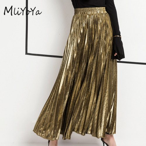 MLIYOYA New Spring Summer Women Skirts All Match Slim Skirt Gold Silver Ladies Casual Long Pleated