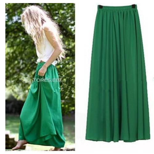 New Women Long Skirt Color Pastel Candy Coloured Pleated Chiffon Maxi Skirts Beach Boho