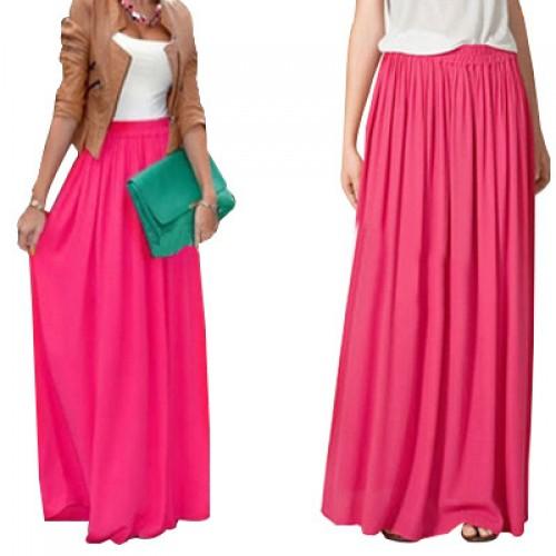SK71 Long Skirt Elegant Style Women Pastel Jupe Pleated Chiffon Maxi Skirts Floor Length Saia Vintage