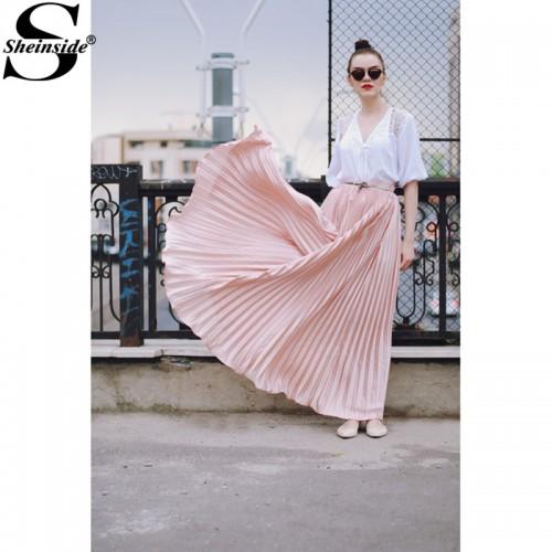 Sheinside Pleated Maxi Skirt Autumn Womens Hight Waist Fashion Designer Elegant Ladies Elastic Waist Beach